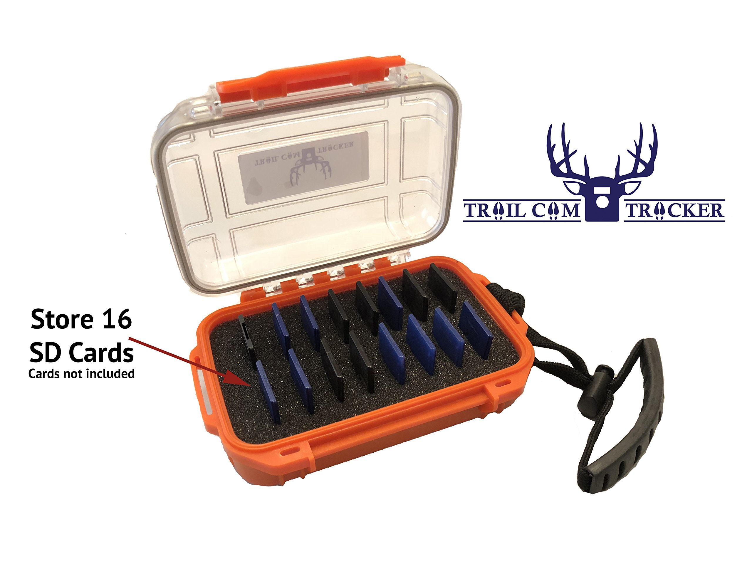 Waterproof Trail Camera SD Card Case by Trail Cam Tracker - Rugged - Durable Storage - Holds 16 SD Memory Cards - BEST hunting trail camera SD Card Case – Store iPhone & Android card reader