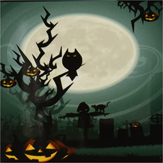 Set of 8 3dRose cst/_153147/_4 A Scary Halloween Scene with a Pumpkin Haunted Tree Under a Big White Moon-Ceramic Tile Coasters