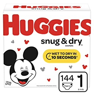 Huggies Snug & Dry Diapers, Size 1 (8-14 lb.), 144 Ct, Giga Jr Pack (Packaging May Vary)