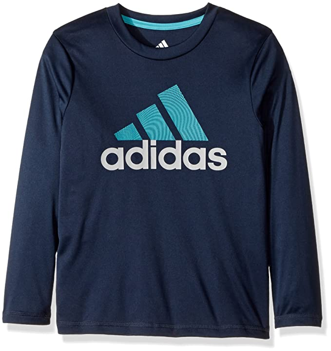 adidas Boys' Big Basic Long Sleeve Tee Shirt, Collegiate Navy, S (8/10)