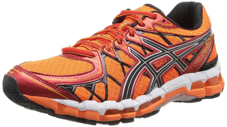 Asics Gel Kayano 20 - Zapatillas de running para hombre, color Fl.Oran/Blk/Red, talla 40 42 EU|Naranja / Negro / Rojo / Plata