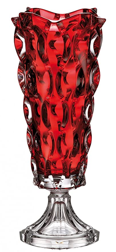 Amazon Czech Bohemian Crystal Glass Footed Vase 16 H Samba Red