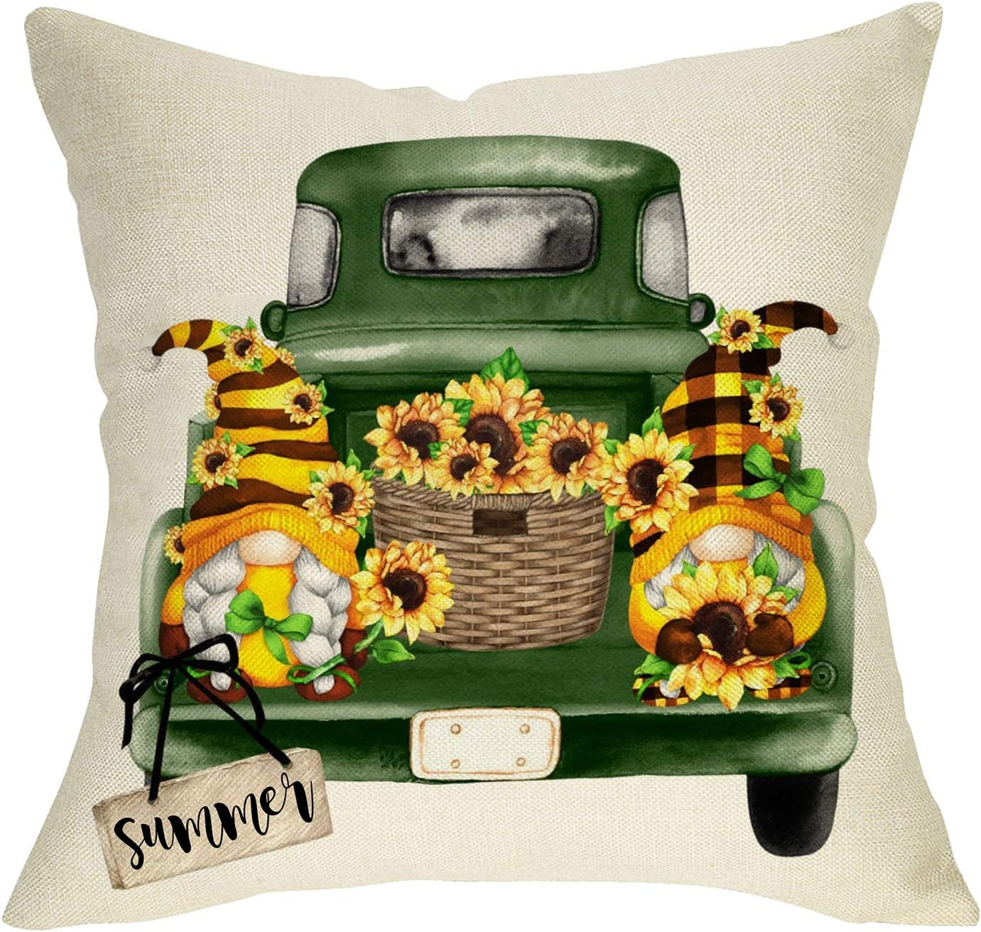 Fbcoo Summer Sunflower Gnome Decorative Throw Pillow Cover, Buffalo Plaid Check Green Truck Flower Basket Cushion Case Decor, Farmhouse Home Square Pillowcase Decorations for Sofa Couch 18 x 18