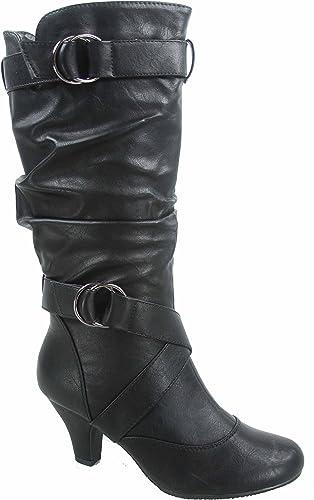 New Women/'s Buckle Strap Slouch Kitten Heel Mid-Calf Knee High Boots 7.5 /& 8