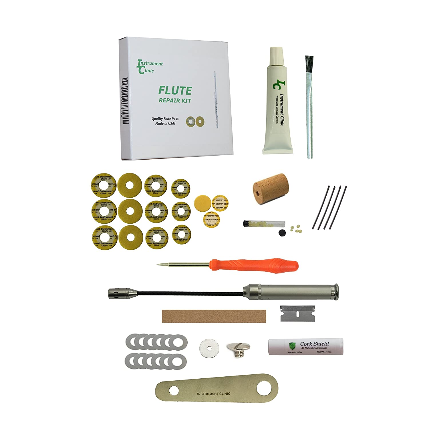 Custom Instrument Clinic Flute Pad Kit, with Head Cork, Leak Light, Pad Iron, for Open Hole Flutes, Email Your Model 4334281609
