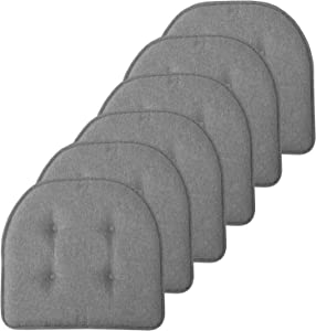 "Sweet Home Collection Chair Cushion Memory Foam Pads Tufted Slip Non Skid Rubber Back U-Shaped 17"" x 16"" Seat Cover, 6 Pack, Grey"