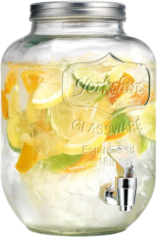 Palais Glassware Clear Mason Jar Beverage Dispenser Traditional Tin Screw Off Lid 1 Gallon