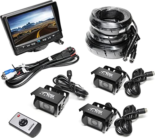 Rear View Safety RVS-770615 Backup Camera System with Three Backup Cameras and 7 TFT LCD Display