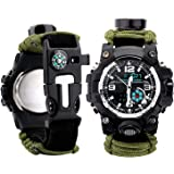 Men Watch Sport Watch Survival Watch with Paracord/Whistle/Fire Starter/Scraper/