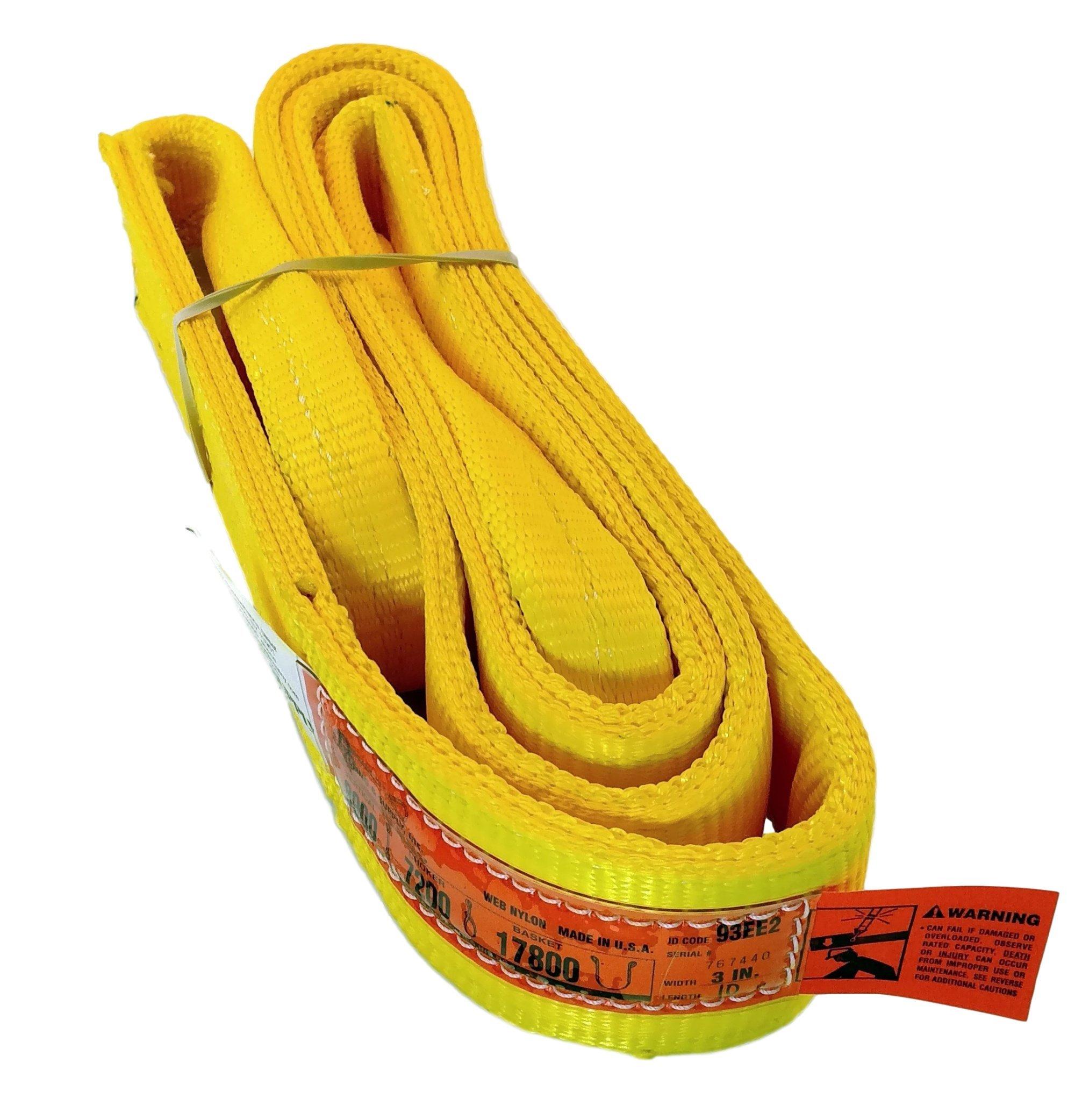 DD Sling (USA Made). 3'' Widths By 6' to 20' Lengths in Listing, 2 Ply Twisted Eye, Nylon Lifting Slings, Eye & Eye, 8,900 lbs Vert, 7,200 lbs Choker, 17,800 lbs Basket Load Capacity (3'' x 10')