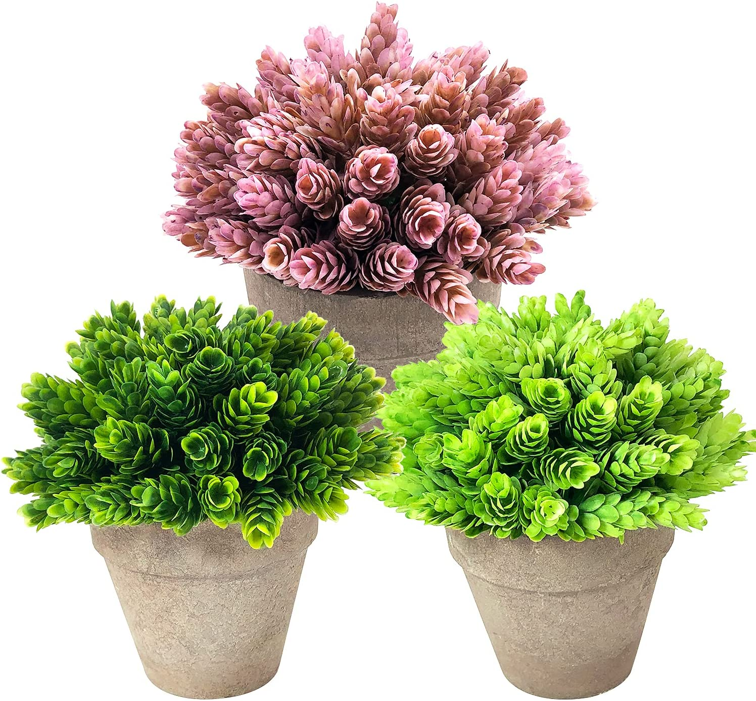 Small Artificial Potted Plants, 3 Pack Mini Fake Plants in Pot for Home Decor Indoor & Outdoor, Faux Plastic Green Grass Ball Greenery Plants for Wedding Farmhouse Shelf Office Tabletop Garden