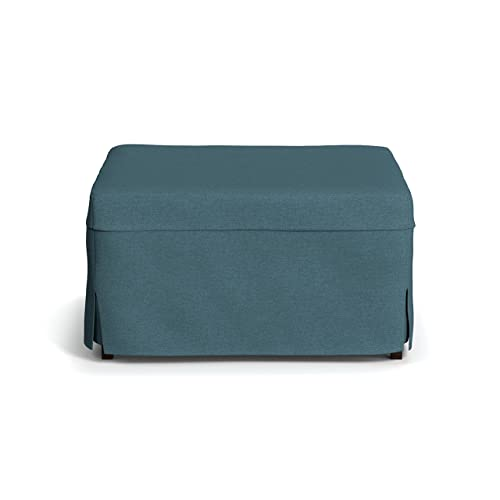 Handy Living Space Saving Folding Ottoman Sleeper Guest Bed, Caribbean Blue, Twin