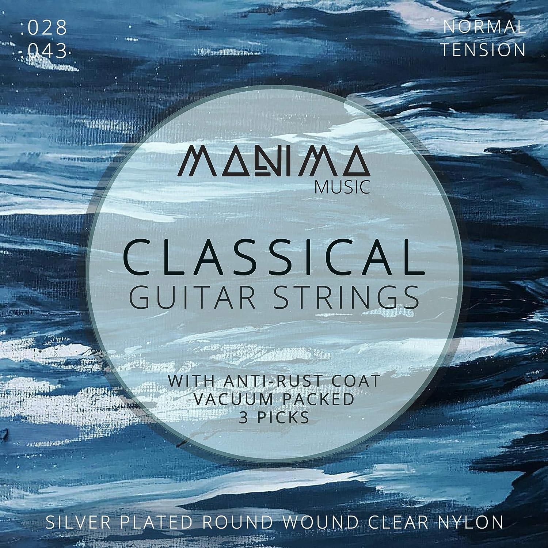 Manima Guitarra Cuerdas para guitarra clásica (Incluye 3 púas - PREMIUM Cuerdas de nailon para guitarra de concierto y guitarra acústica