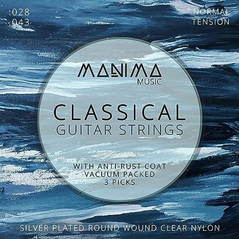 Manima Guitarra Cuerdas para guitarra clásica (Incluye 3 púas ...