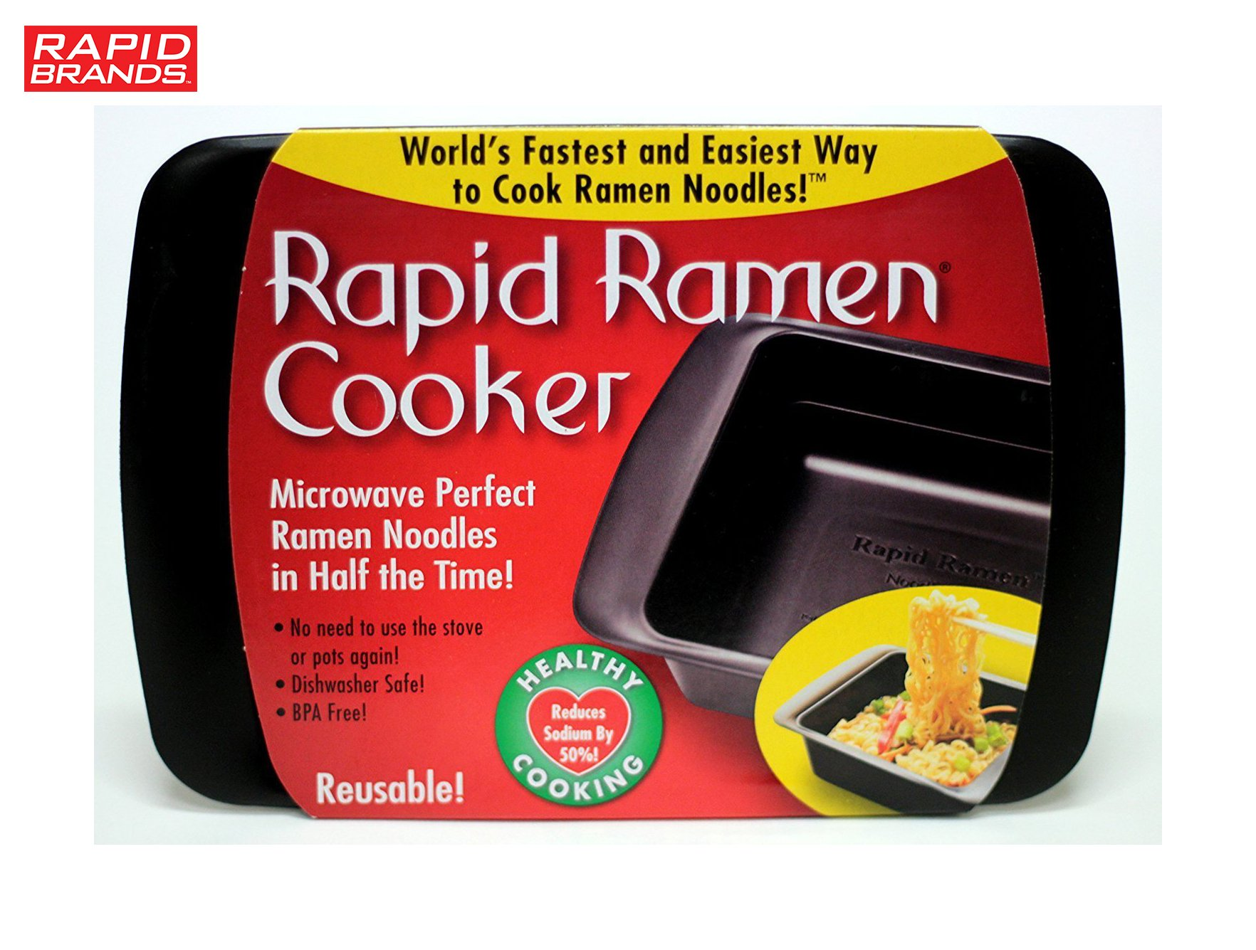 Rapid Ramen Cooker - Microwave Ramen in 3 Minutes - BPA Free and Dishwasher Safe (Four Black) by Rapid Brands (Image #5)