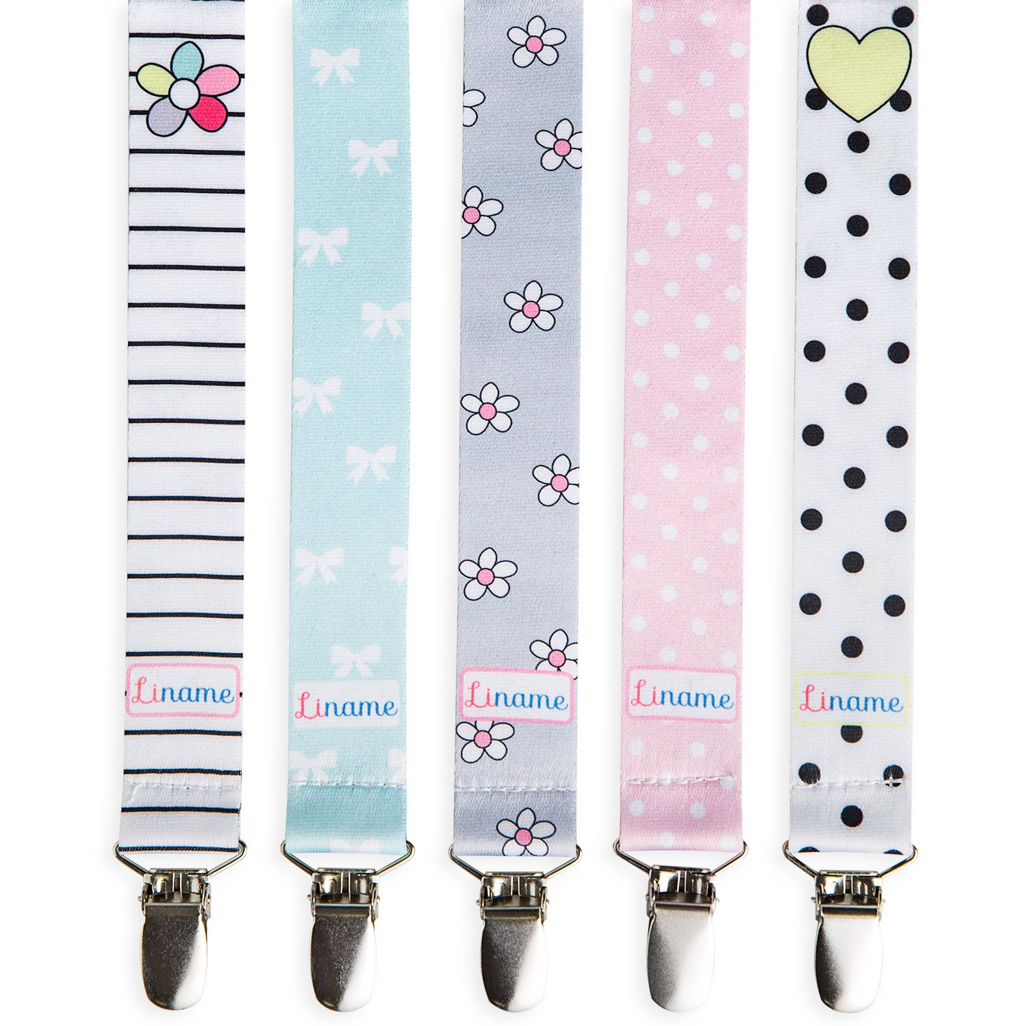 Liname Pacifier Clip for Girls with BONUS eBook - 5 Pack Gift Packaging - Premium Quality & Unique Design - Pacifier Clips Fit ALL Pacifiers & Soothers - Perfect Baby Gift aa