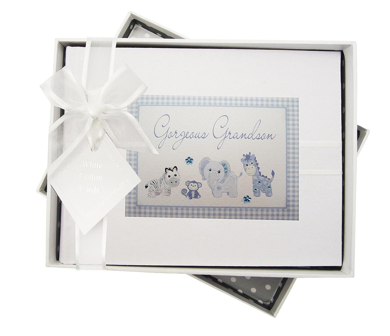 White Cotton Cards Handmade Gorgeous Grandson Photo Album Blue Gingham