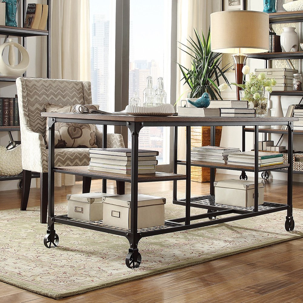Amazon.com: TRIBECCA HOME Nelson Industrial Modern Rustic Storage Desk:  Cell Phones & Accessories