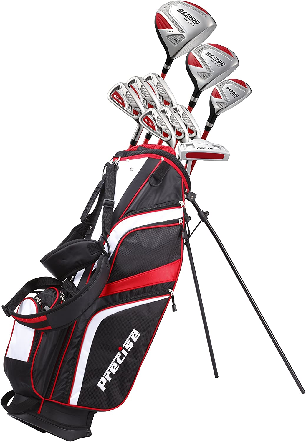 """15 Piece Ladies Womens Complete Golf Clubs Set Titanium Driver, S.S. Fairway, S.S. Hybrid, S.S. 6-PW Irons, Sand Wedge, Putter, Stand Bag, 3 H/C's Petite Size for Ladies 5'3"""" and Below - Right Hand"""