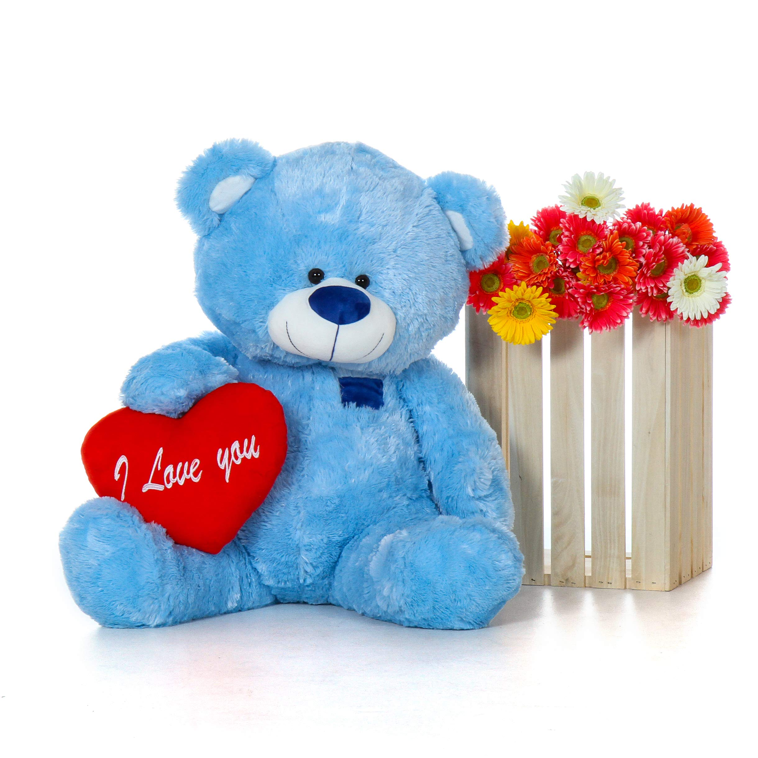 Giant Teddy Original Brand - Biggest Collection of Super Soft Stuffed Teddy Bears (Pillow Heart Included) (Sky Blue, Huge)