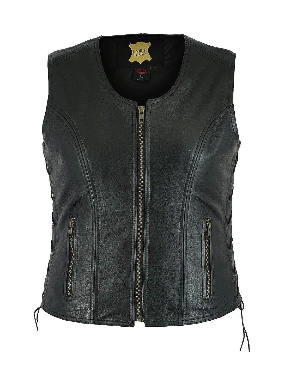 Womens Gilet de cuir de moto avec lacets de c/ôt/é doux Noir Lv-6184