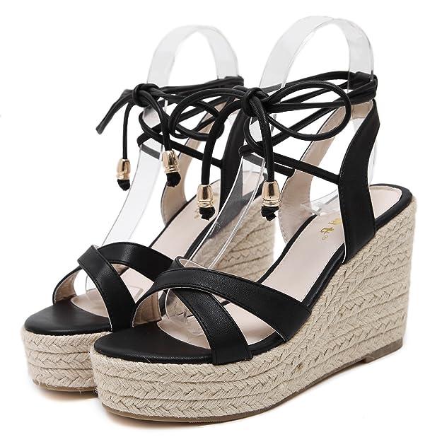 f5610f0ba4 Amazon.com   MAKEGSI Womens Jute-Rope Middle Wedge Heel Summer Shoes Flip  Sandals Lace Up   Platforms & Wedges