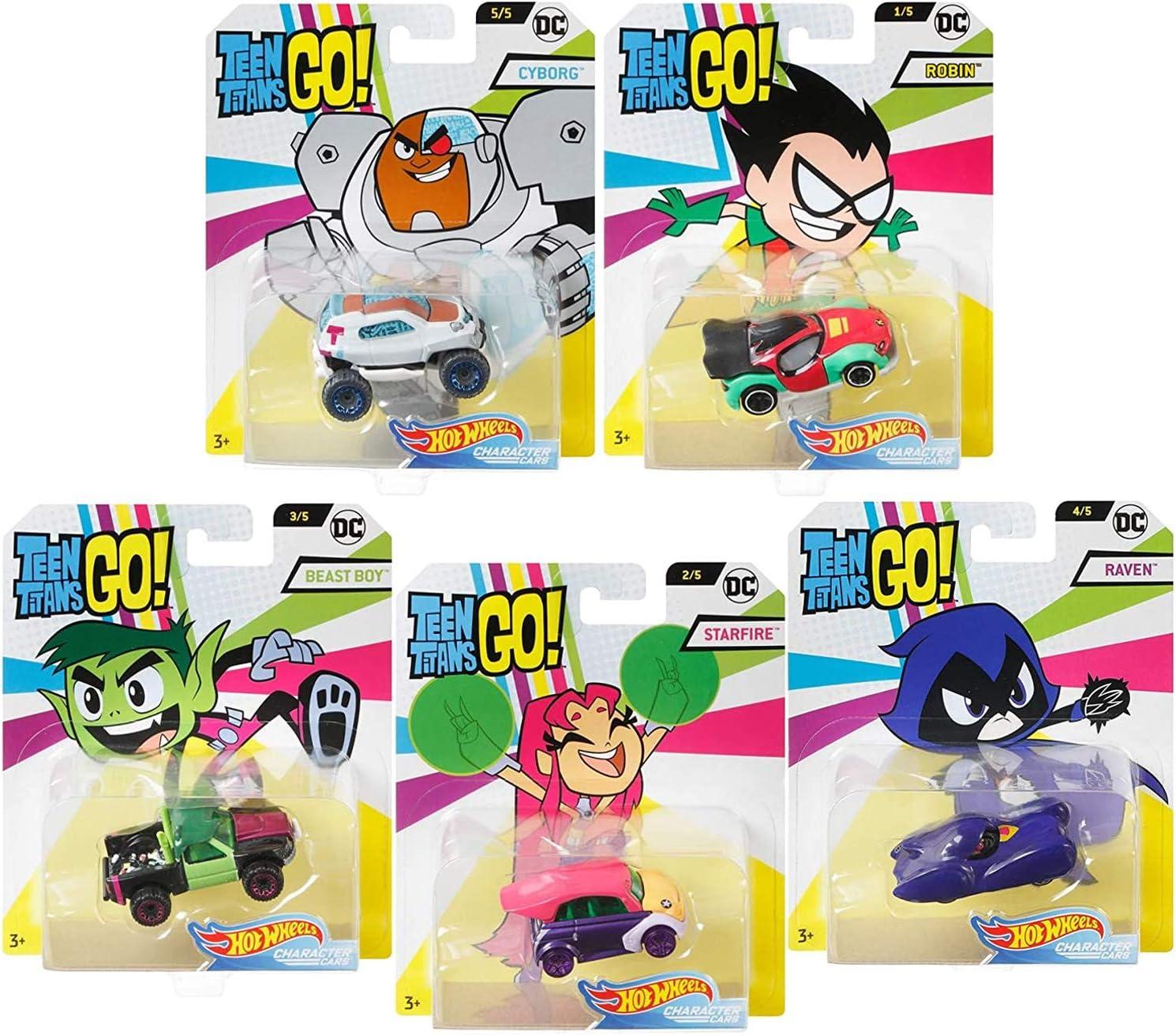 Hot Wheels Teen Titans GO! DC Comics - Set Completo de 5 Modelos Diecast en Escala 1/64 Mattel: Amazon.es: Juguetes y juegos