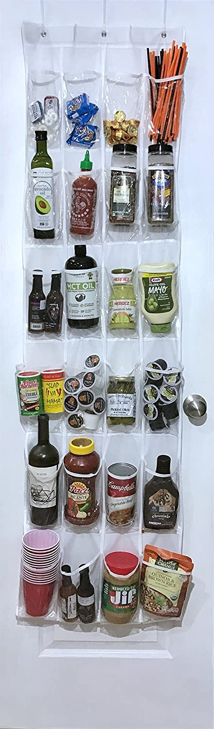 White Over the Door Pantry Organizer Hanging Home Storage Rack with 24 Clear Pockets by Our Simple Life