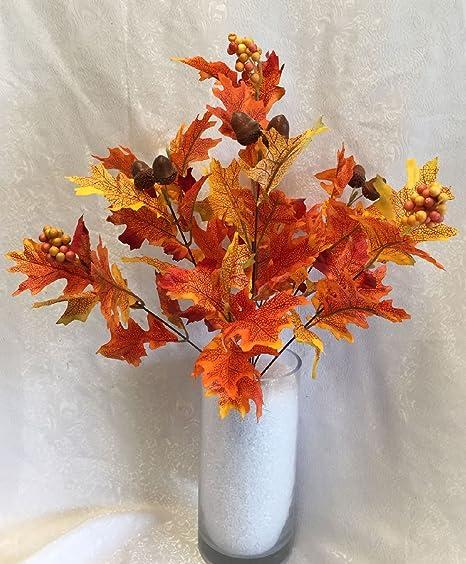 Fall oak leaves w acorns bush silk wedding flowers bouquets fall oak leaves w acorns bush silk wedding flowers bouquets centerpieces junglespirit Images