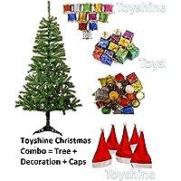 Toyshine Christmas Tree Celebration Combo | 6 Ft Tree + 96 Pcs Decoration + 10 Christmas Caps Free Size