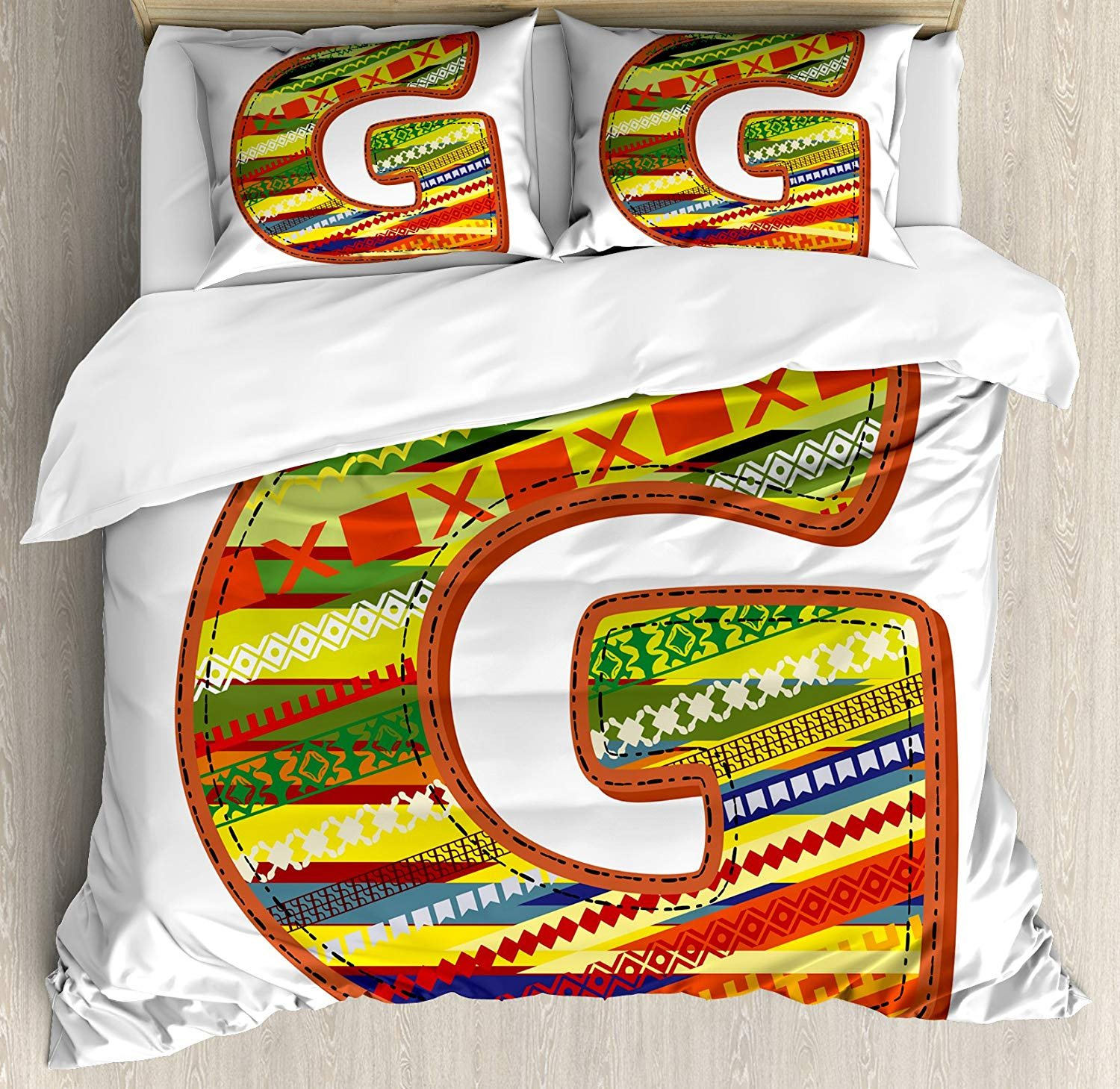 Full Size Letter G 3 PCS Duvet Cover Set, G Letter Character Language System Learning College Surname Red Calligraphy Design, Bedding Set Quilt Bedspread for Children/Teens/Adults/Kids, Multicolor
