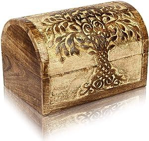Christmas Gifts Handmade Decorative Wooden Jewelry Box With Tree Of Life Carvings Jewelry Organizer Keepsake Box Treasure Chest Trinket Holder Lock Box Watch Box 9 x 6 Inch Anniversary Gifts Her