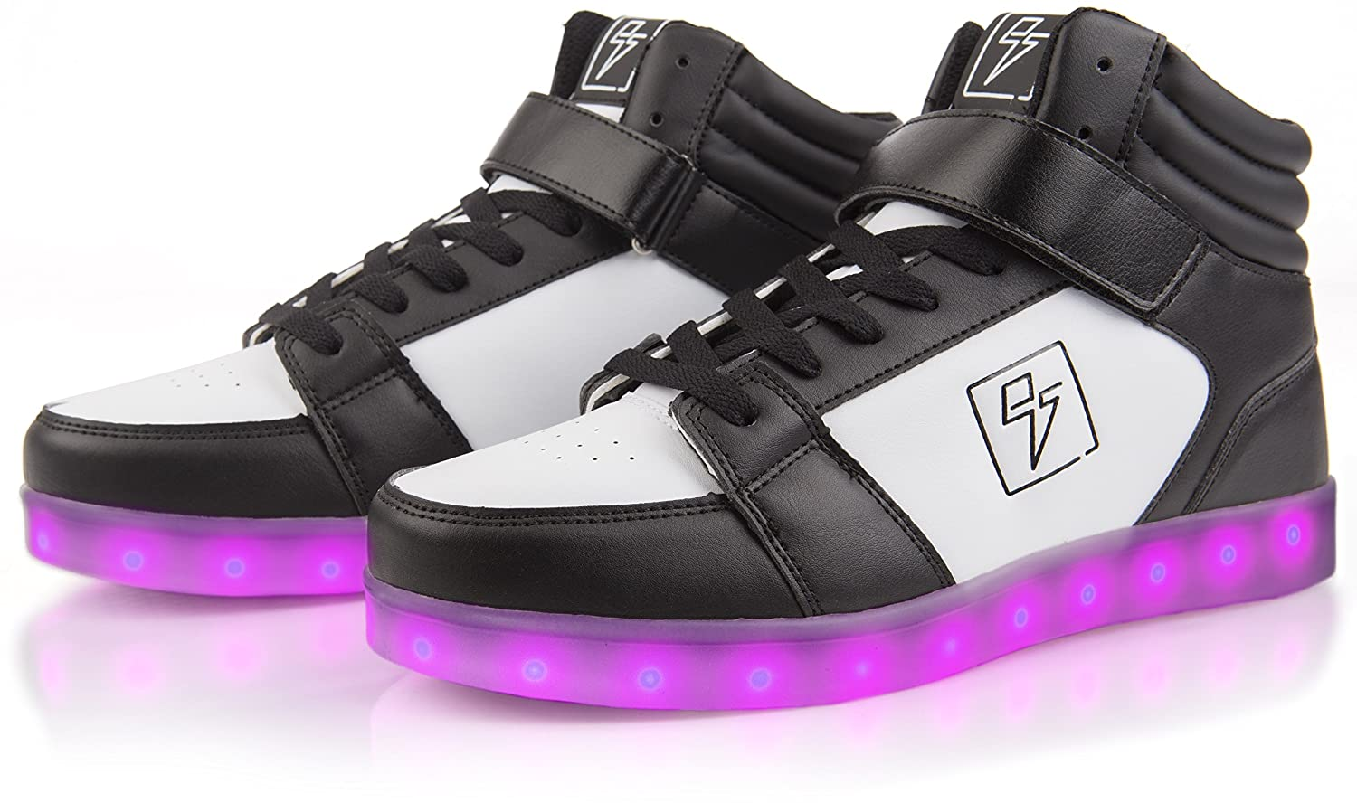 Electric Styles Light up Shoes - High Tops by B01COEL50S 8 Men (10 Women)|Black & White
