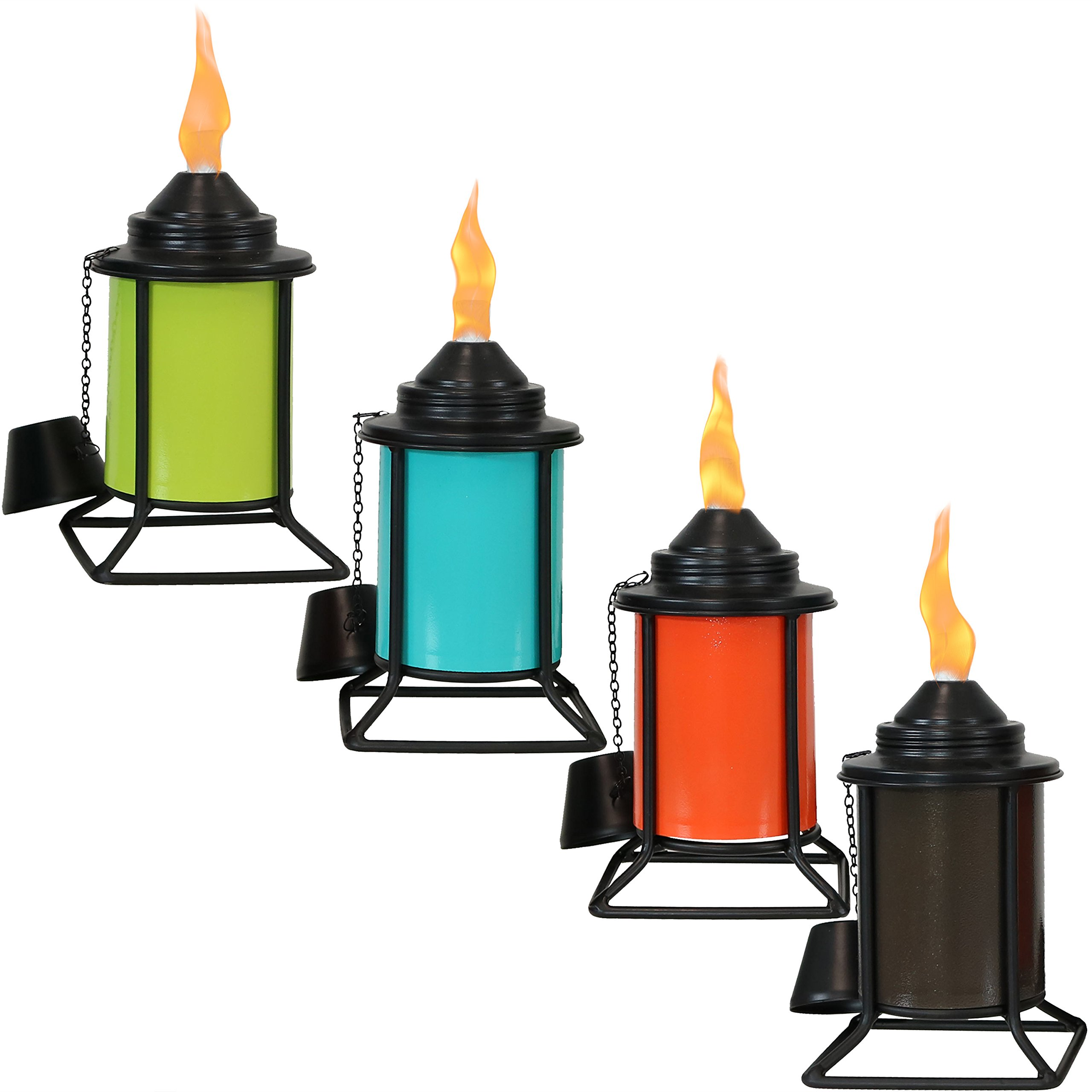 Sunnydaze Metal Tabletop Torches, Outdoor Patio and Lawn Citronella Torch, Multi-Color, Set of 4