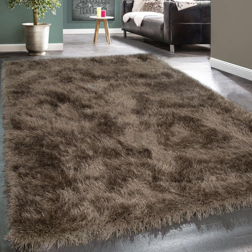 Paco Home Moderner Wohnzimmer Shaggy Hochflor Teppich Soft Garn In Uni Braun Beige, Grösse 200x290 cm
