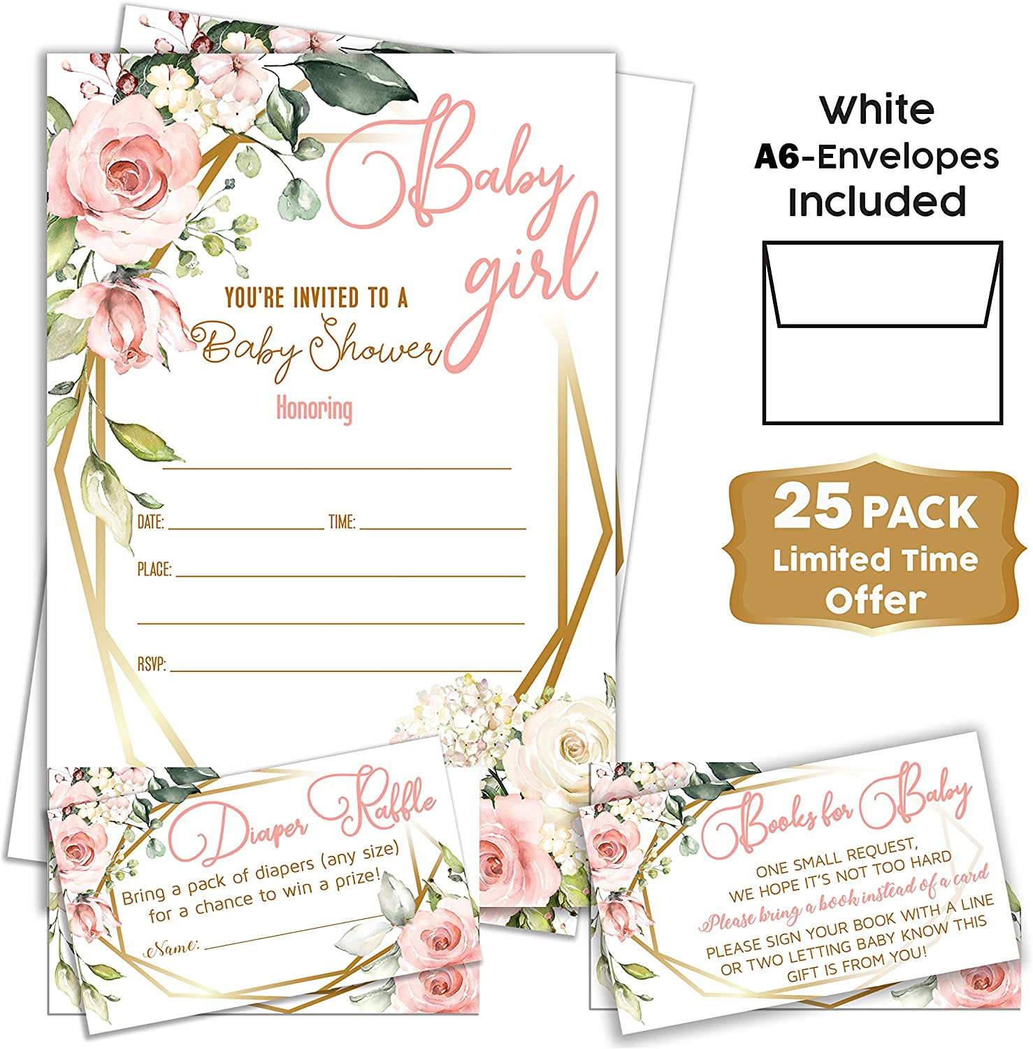 Pink Floral – Baby Shower Pink Invitations Girl with Envelopes and Diaper Raffle Tickets. Set of 25 Floral Fill in The Blank Style Invites with Envelopes – Floral Baby Shower Invitations Girl