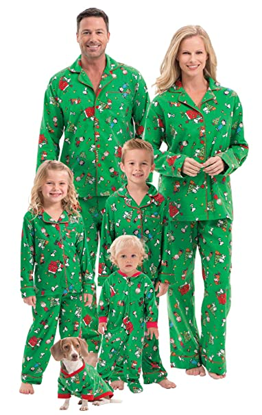 green snoopy family pajamas set