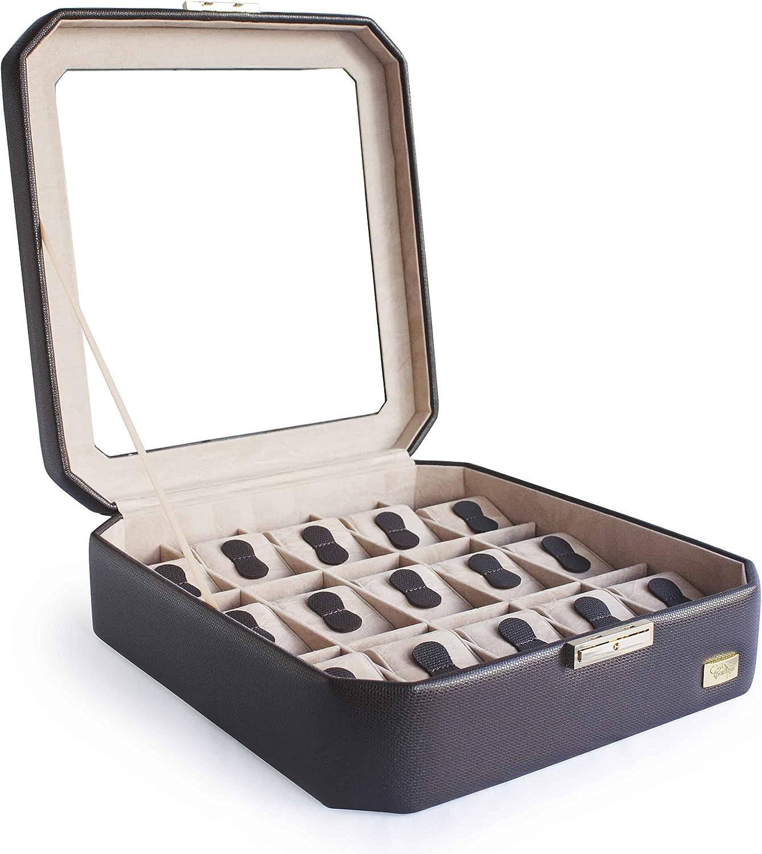 CORDAYS - Estuche Relojero para 15 Relojes con Vitrina de Cristal Joyero Relojero para Accesorios y Joyas -Hecho a Mano- en Color Marrón CDM-00038: Amazon.es: Hogar