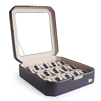 Cordays Estuche Relojero para 15 Relojes con Vitrina de Cristal en Calidad Premium – Joyero Relojero para accesorios y joyas -Hecho a Mano- en Color ...