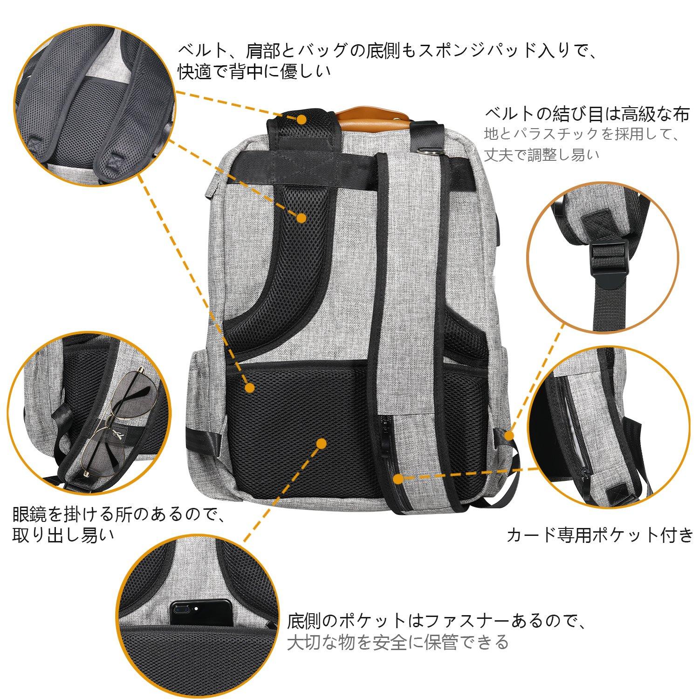 145f1f588e6d Amazon.co.jp: BIL-YOPIN マザーズバッグ おむつバッグ 多機能 マタニティ 赤ちゃん用 ナッピーバッグ  USBポート、ベビーカー用ストラップ、おむつ換えパッド、 ...