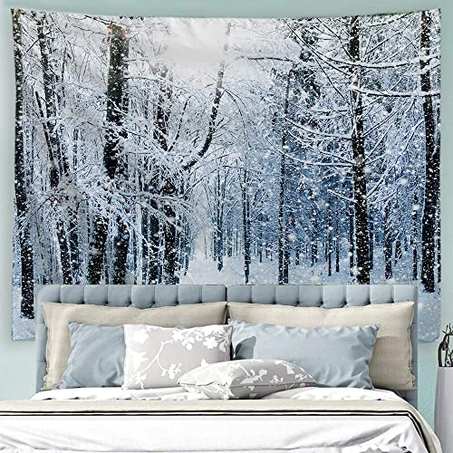 ALFALFA Wall Hanging Decor Nature Art Polyester Fabric Tapestry, for Dorm Room, Bedroom,Living Room – 90 W x 71 L 230cmx180cm – Winter Snow in The Forest