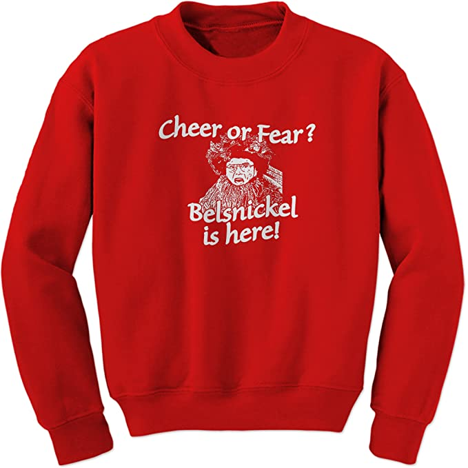The Office Christmas Sweater.Ferocitees Belsnickel Cheer Or Fear Crewneck Sweatshirt