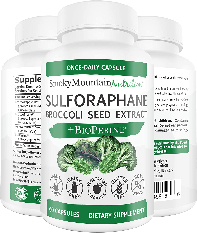 Sulforaphane Supplement 75mg with Myrosinase, Broccoli Seeds, Broccoli Sprouts Extract and Mustard Seeds - 60 Capsules - Glucoraphanin SGS, Glucosinolate, NRF2 - Detox, Anti-Inflammatory & Antioxidant