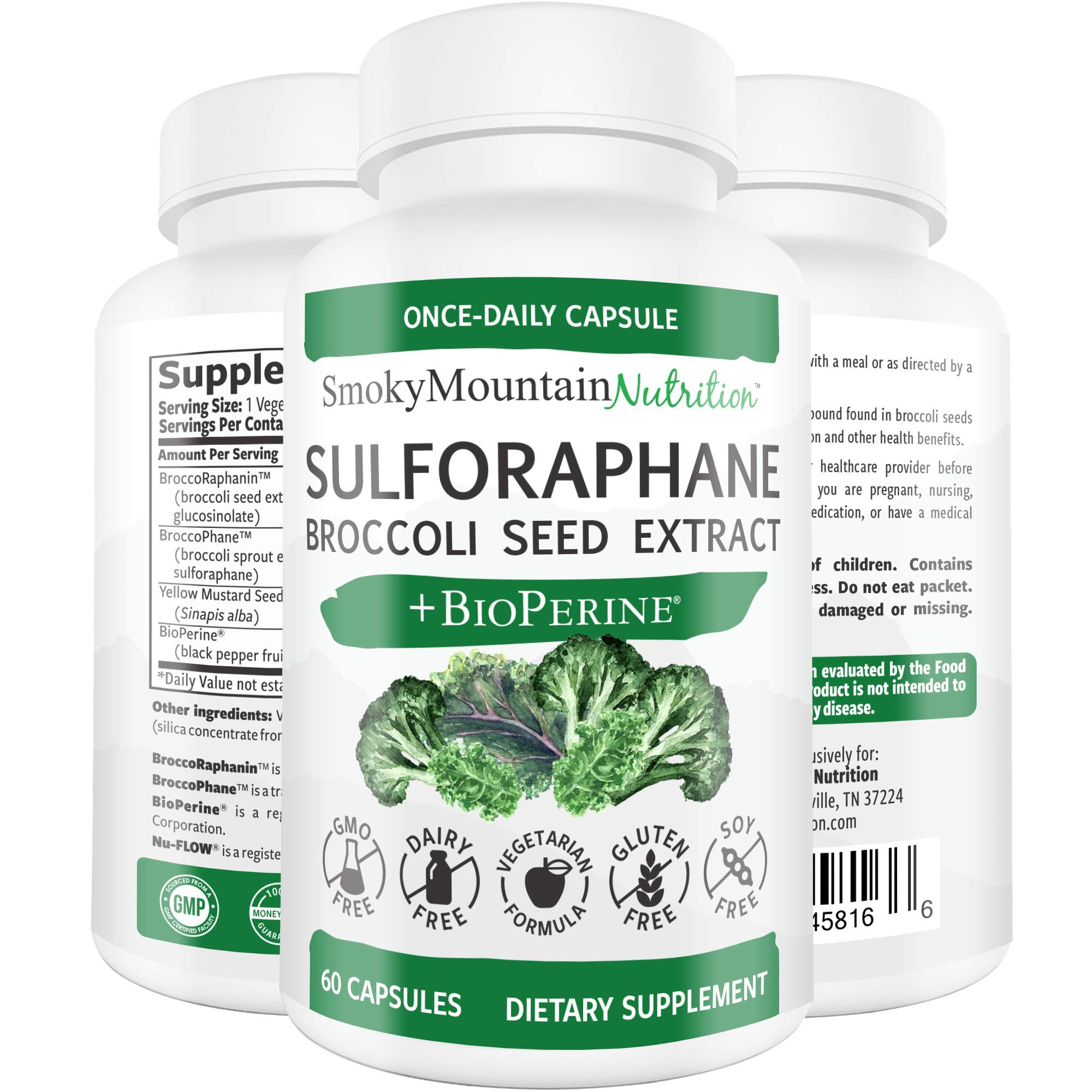 Sulforaphane Supplement 75mg with Myrosinase, Broccoli Seeds, Broccoli Sprouts Extract and Mustard Seeds - 60 Capsules - Glucoraphanin SGS, Glucosinolate, NRF2 - Detox, Anti-Inflammatory & Antioxidant by Smoky Mountain Naturals