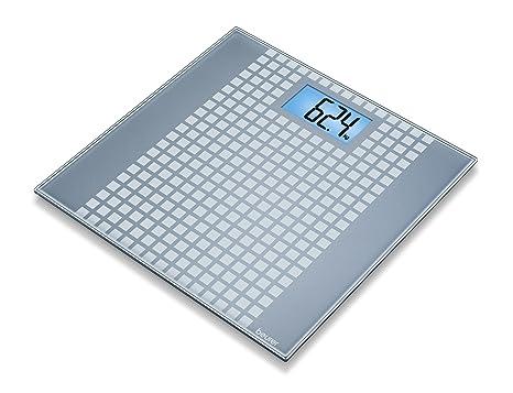 Beurer GS 206 - Báscula de baño de vidrio, diseño de cuadros, color plateado