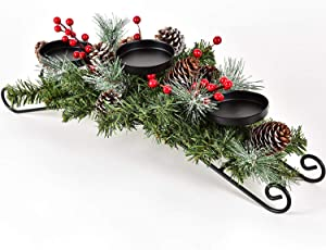"""DearHouse Christmas Candle Holder Centerpiece, Pine Cones and Red Berry Table Centerpiece with 3 Candle Holders Table Accent Lighted Centerpiece for Festival Home Decoration 20"""" x 10"""" x 6""""(L x W x H)"""