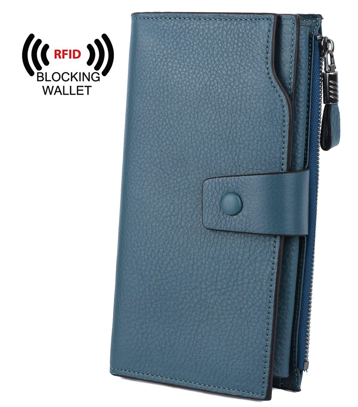 YALUXE Women's Wax Genuine Leather RFID Blocking Clutch Wallet Wallets for women Blue
