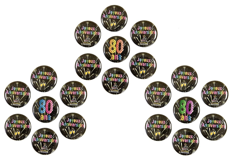 Visiodirect Lot DE 70 Badges 80ANS - 3.8 cm