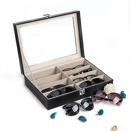 CO-Z Caja de Cuero para Gafas Estuche para Guardar y Exhibir Gafas/Relojes/ Joyas/Anteojos Caja de Almacenamiento 8 Compartimentos 33.5 * 24.5 * 8.5cm: Amazon.es: Hogar