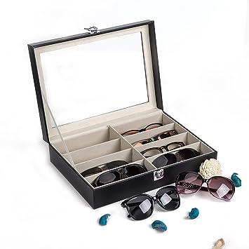 CO-Z Caja para Gafas de Sol Estuche de Cuero para Guardar y Exhibir Gafas/ Relojes/Joyas/Anteojos Caja de Almacenamiento 8 Compartimentos 33.5 * 24.5 ...